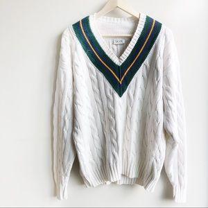 Vtg Cable knit Preppy v neck fisherman Sweater